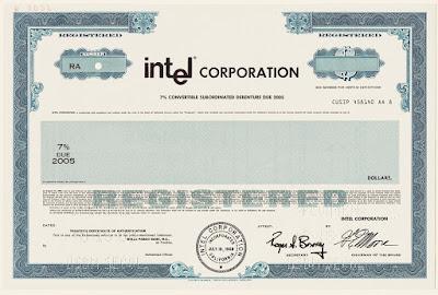 Intel Corporation, specimen bond certificate from the 1980s