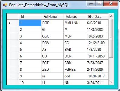 show mysql records in datagridview using vbnet