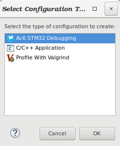 Select Ac6 Debug configuration