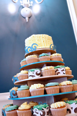 Beach themed wedding cupcake tower