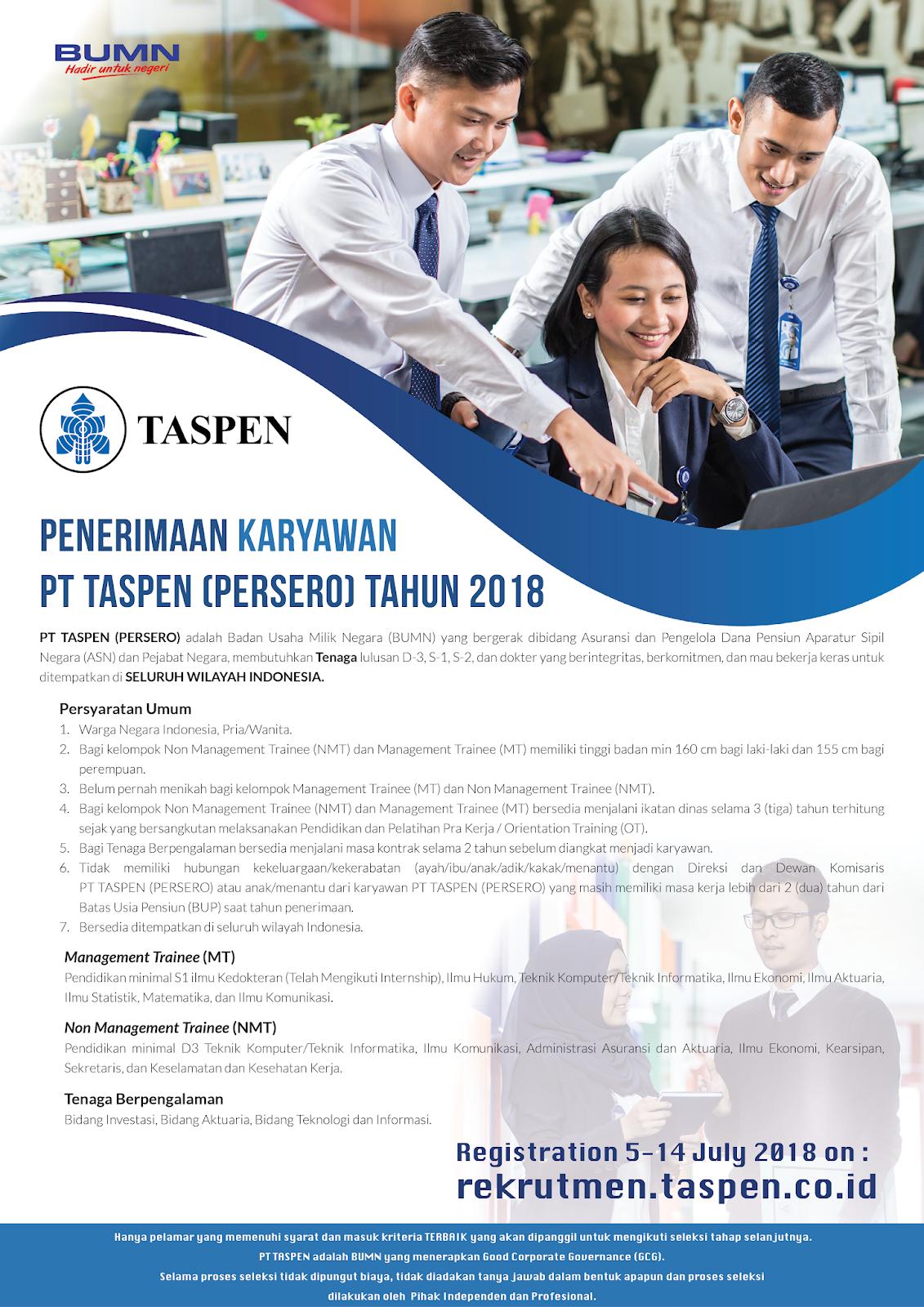 Lowongan Kerja   Online PT Taspen (Persero) Besar Besaran   Juli 2018
