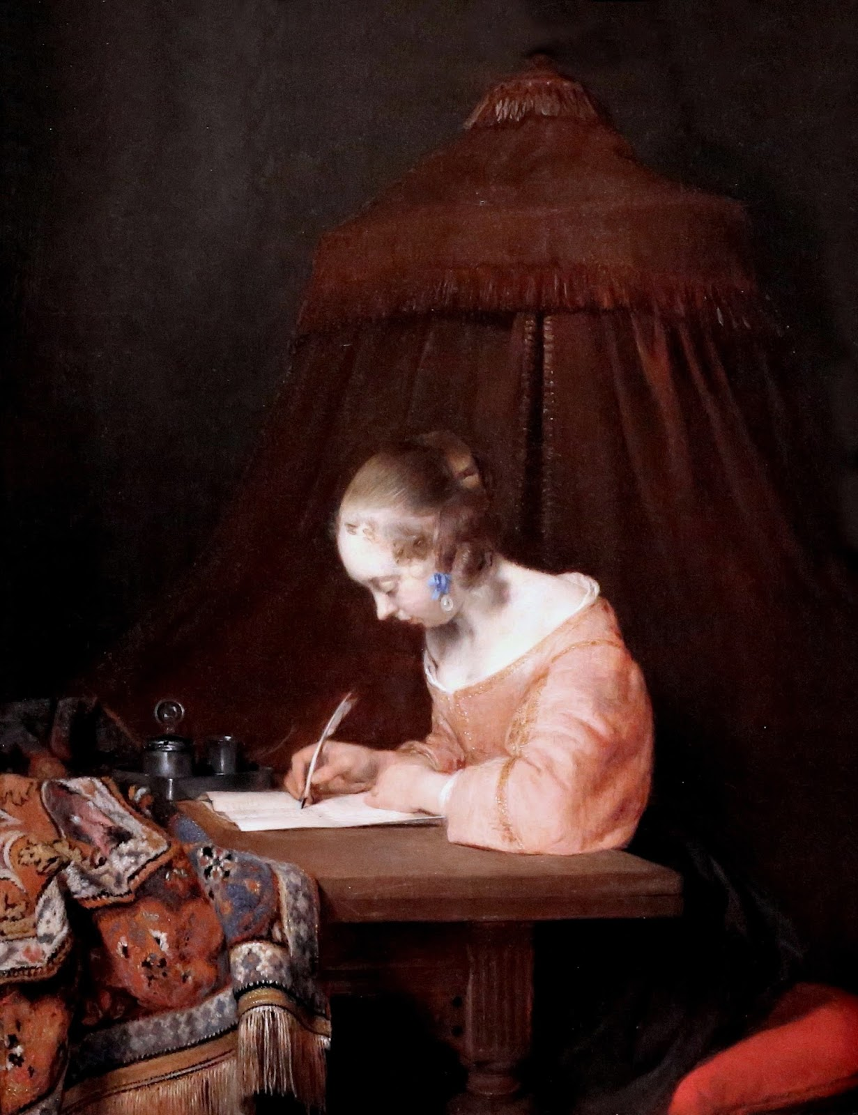 Woman writing a letter gerard ter borch paternal admonition