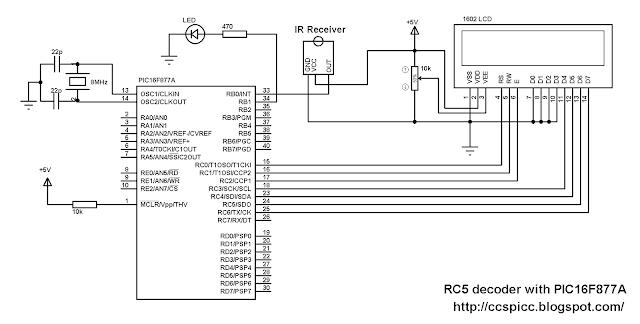 PIC16F877A RC5 IR remote control decoder circuit CCS PIC C