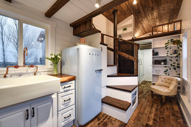 Tiny House Kitchen, Stairs And Loft Bedroom