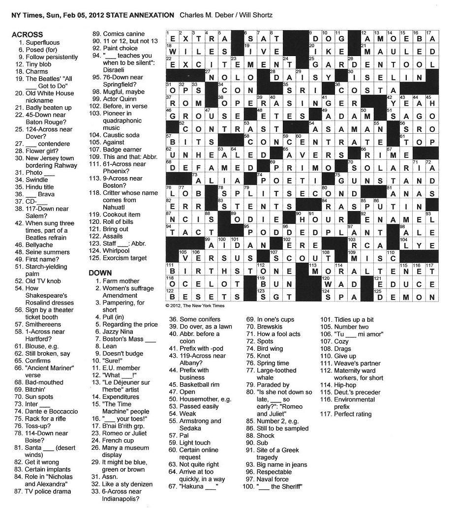 The New York Times Crossword in Gothic: 02.05.12 — No Picnic