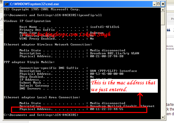 How to Change The MAC Address of system