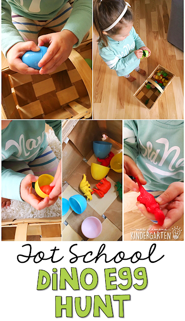 Learning is more fun when it involves movement! This dinosaur egg hunt was an easy and fun gross motor activity for our dinosaur theme. Great for tot school, preschool, or even kindergarten!