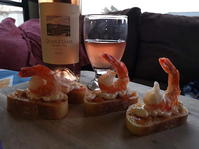 Quince, May and Shrimp on Toasted French Bread
