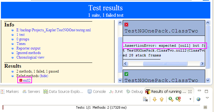 Selenium WebDriver Assertion assertNull Example With TestNG
