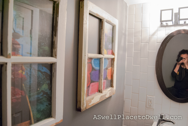 Antique windows in the bathroom