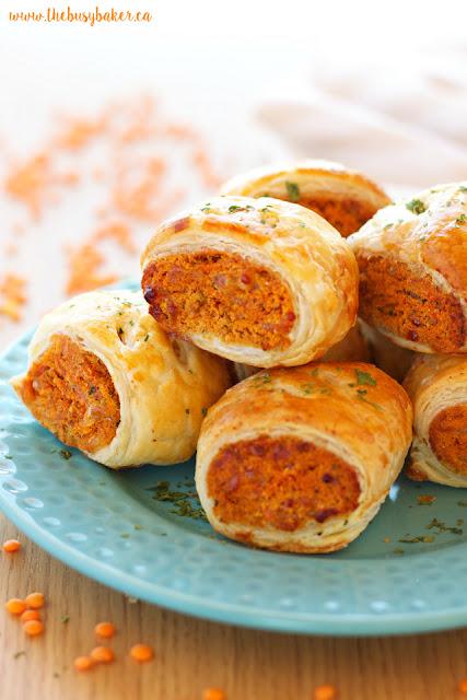 http://www.thebusybaker.ca/2016/11/vegetarian-red-lentil-sausage-rolls.html