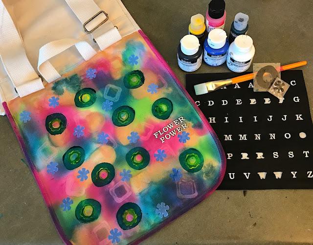 paint stamp messenger bag