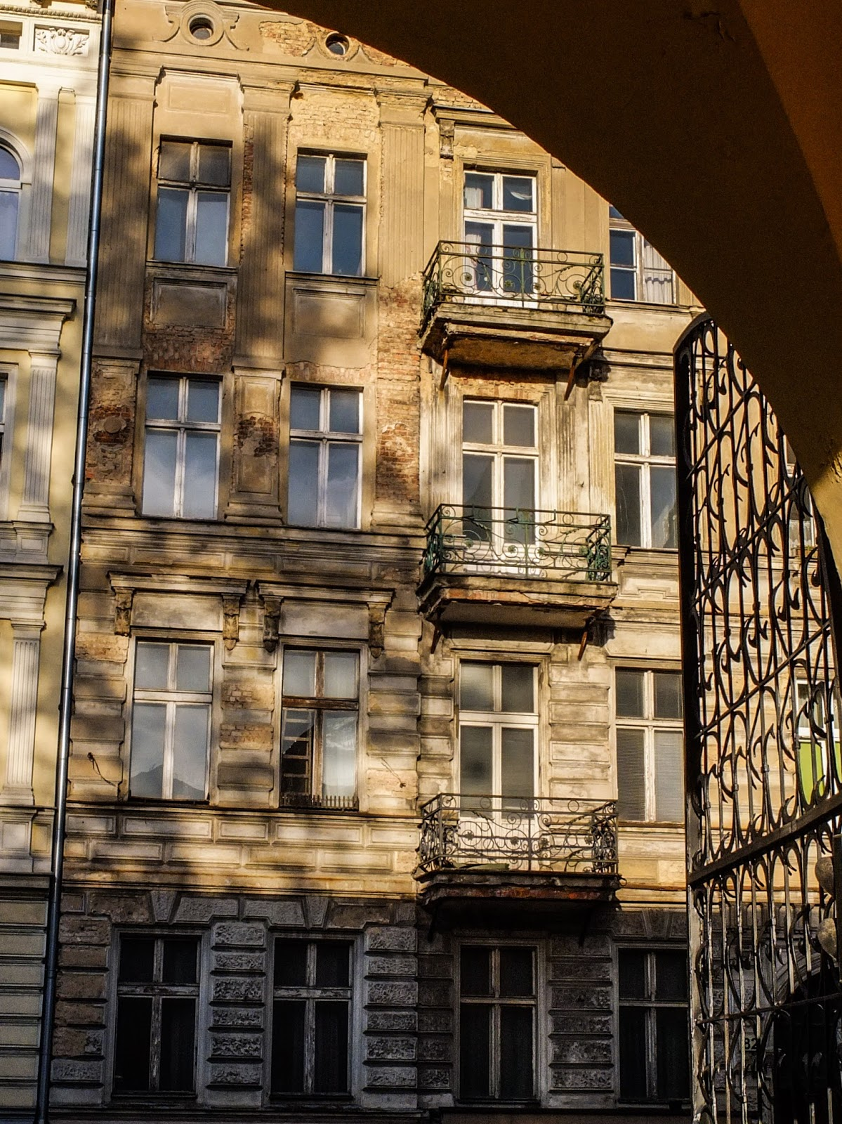Sunlight on tenement houses in the city of Poznań, Poland.