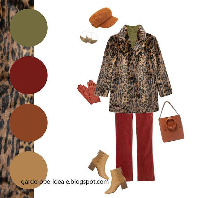 Сочетание леопардовой шубы с красными брюками и зеленой водолазкой