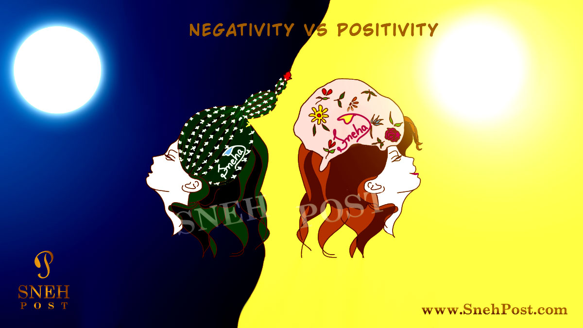 Abstract illustrative image on negative vs positive titled Meaning of Positive Attitude: 3 Simple Rules of Positivity
