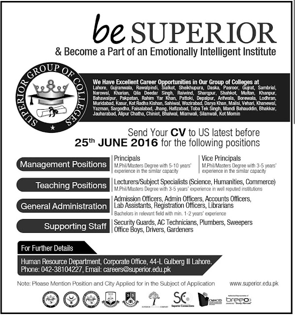 Teaching Jobs in Pakistan Superior Group of Colleges for Teachers