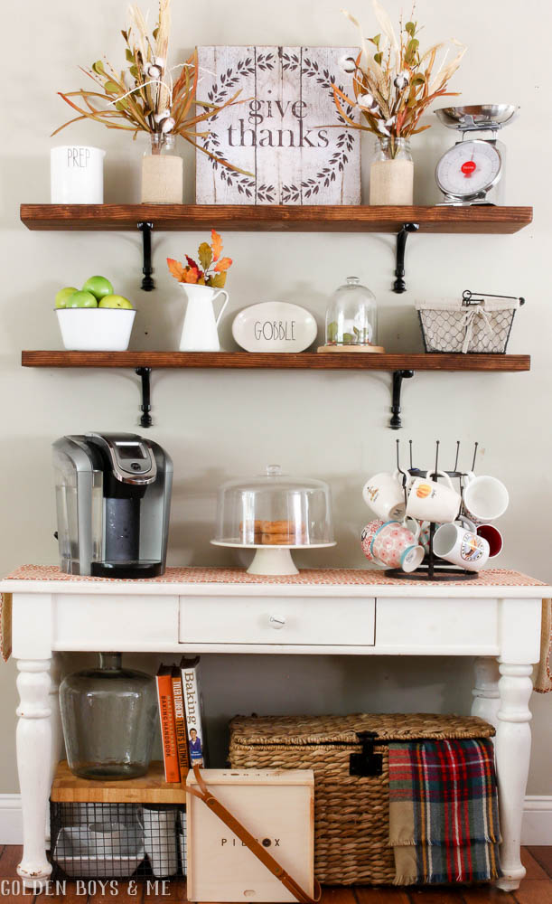 DIY shelves with console table and coffee station in fall home tour