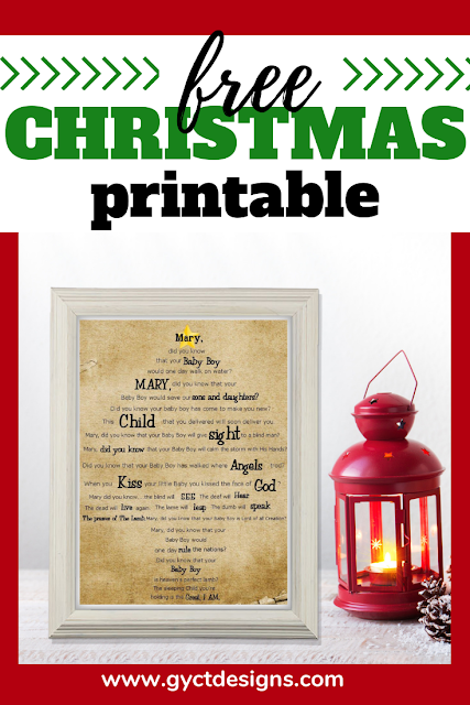 Simple free printable Christmas signs with the lyrics for Mary Did You Know?  the beautiful Christmas song