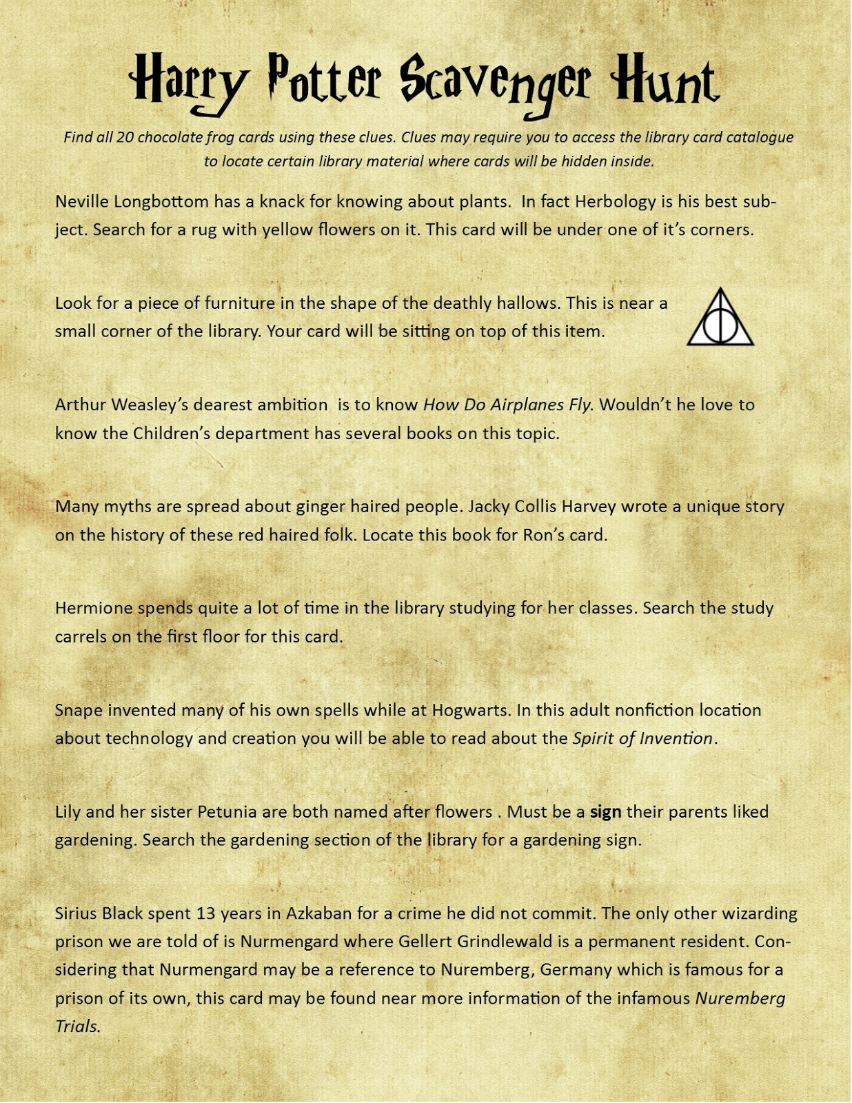 Teen Harry Potter Scavenger Hunt In The Library