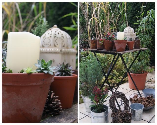 Gartendeko mit Laterne und LED-Kerze für den Gartentisch