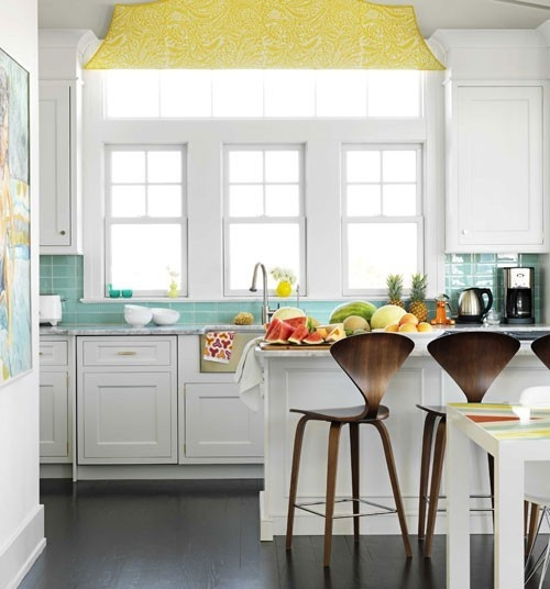 """My Finished For Now Kitchen From Kelly Green To Teal: Peaceful Home Decor: """"Colorful"""" White Kitchens"""