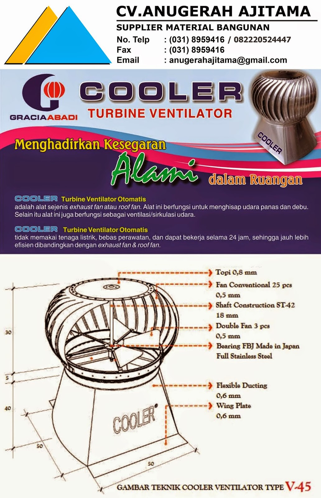 TURBINE VENTILATOR COOLER TYPE V-45
