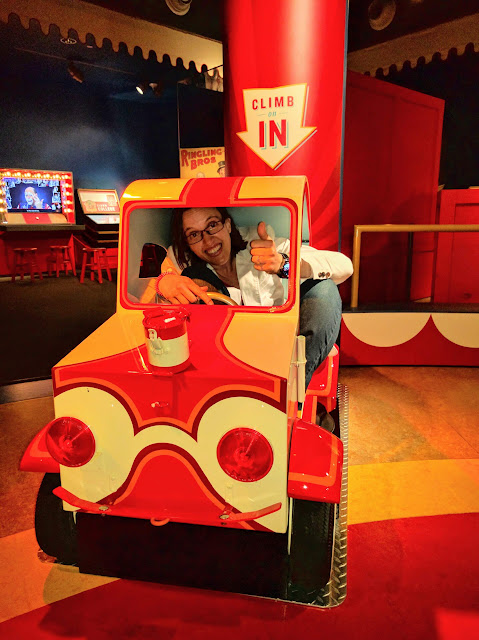 In a clown car at the Ringling Circus Museum in Sarasota, Florida