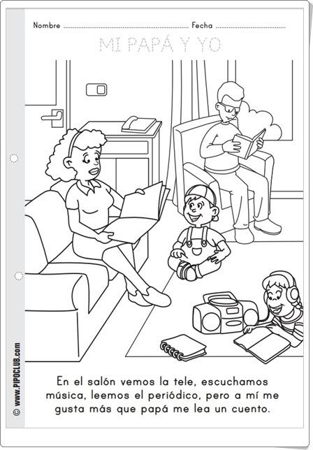 """Día del Padre: """"Fichas para colorear de Pipo Club"""""""