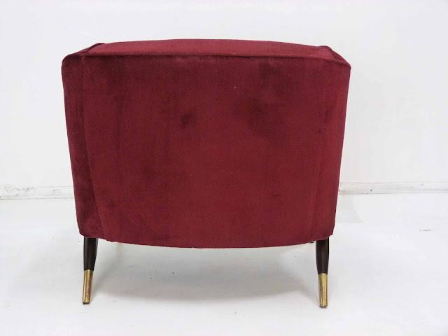 Karpen Modernist Lounge Chair Tripod Legs Brass Sabots mid century back