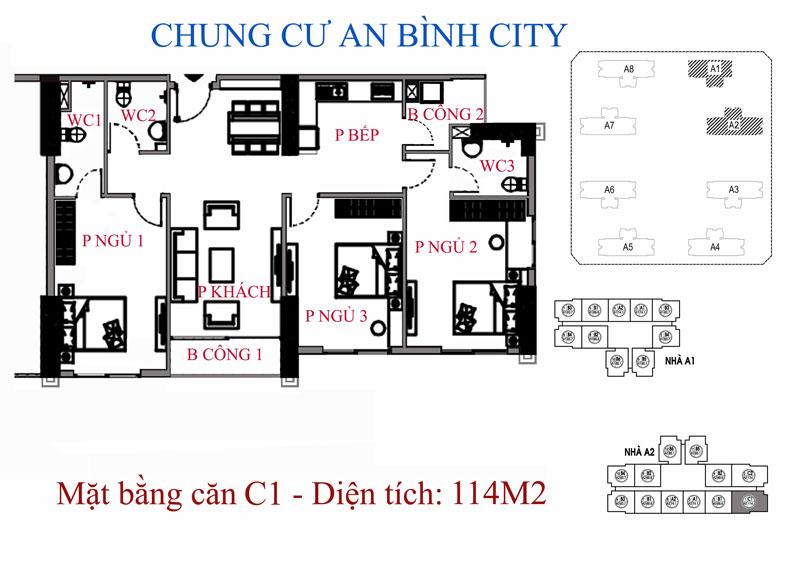 Mặt bằng A1 dự án chung cư An Bình City- CĐT Geleximco