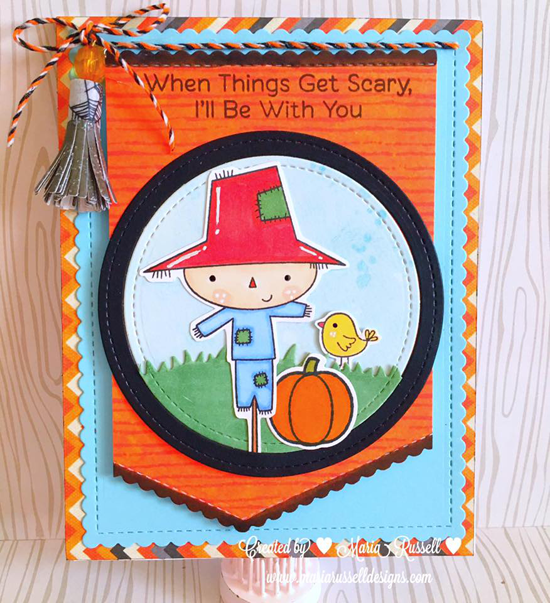 Fall Friends and Harvest Buddies stamp sets and Die-namics and Stitched Basic Scallop Edges and Mini Fringe Die-namics - Maria Russell #mftstamps