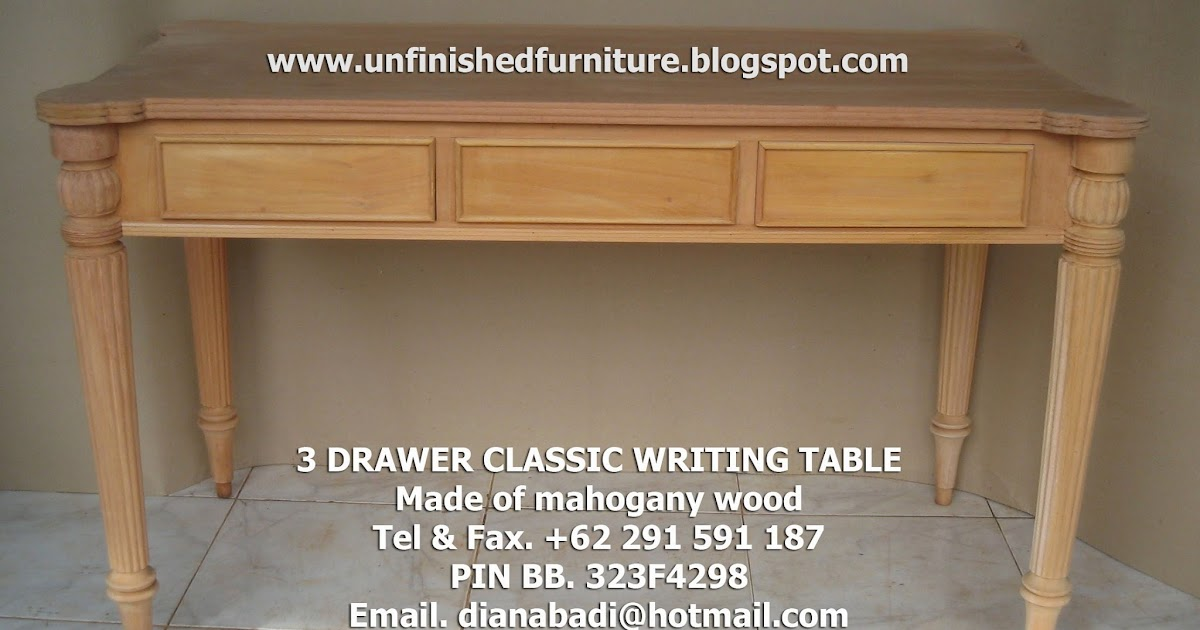 Unfinished Mahogany Furniture: 13 Drawer Classic Writing Table