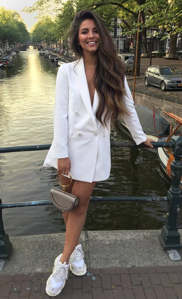 what to wear with a white blazer dress: bag and sneakers