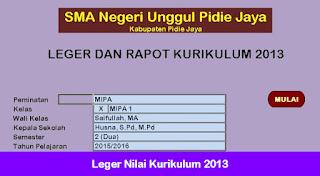 Leger Nilai Kurikulum 2013