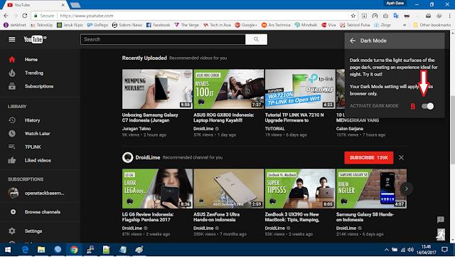 Cara mengaktifkan YouTube Dark Mode
