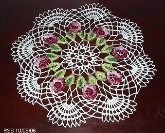 Red Flowers and Green Leaves Irish Crochet Doily - Hand-Crocheted by RSS Designs In Fiber - Sold - Email for Custom Order Request