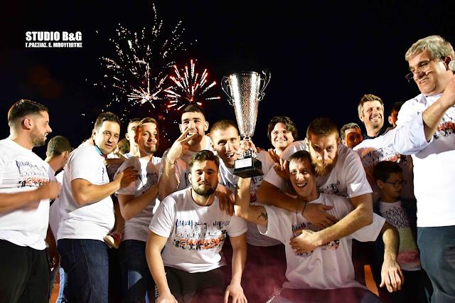 Το Ναύπλιο γιόρτασε την άνοδο του Πρωταθλητή Οίακα στην Α2 Εθνική κατηγορία Μπάσκετ (βίντεο)