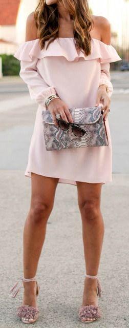 nude outfit idea: dress + heels + bag