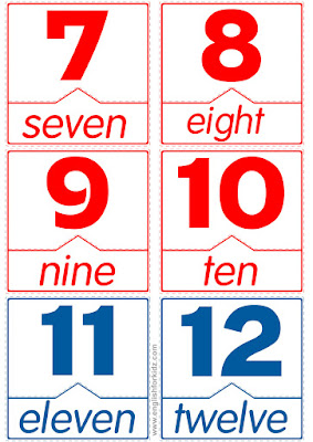 printable flashcard for English lessons, matching word to number