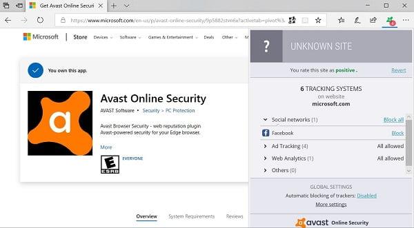 اضافة Avast  متاحه الان لمتصفح Microsoft Edge