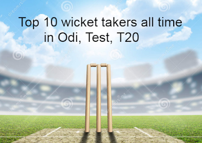 top 10, most, highest, leading, wicket takers, odi, test, t20, twenty20,  matches, record, bowling, career, records, cricket, history.