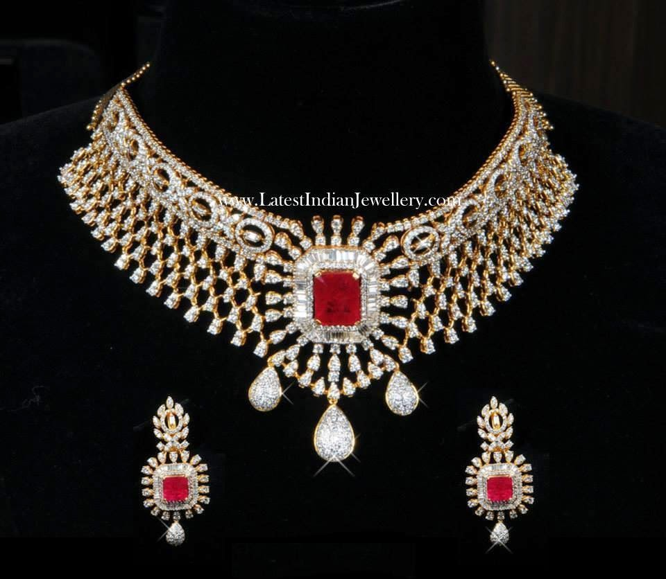 Diamond Necklace with Changeable Rubies