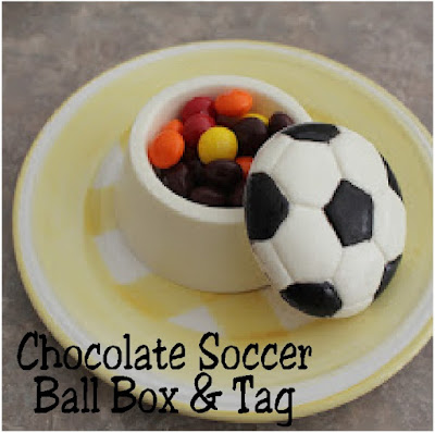 Celebrate with chocolate at your next Soccer game or Soccer party with this yummy Soccer ball chocolate candy box.  It's the perfect party favor or treat especially when you add the free printable soccer tag! #soccer #party #printableparty #tag #chocolate #diypartymomblog
