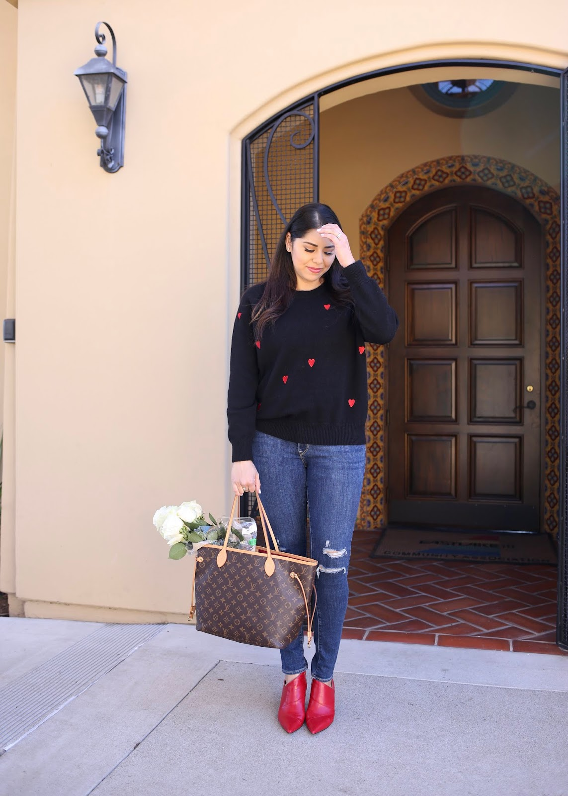 chicwish sweater outfit, how to wear red boots