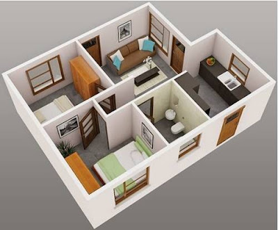 Model Denah Rumah Minimalis 1 Lantai Type 36 Modern