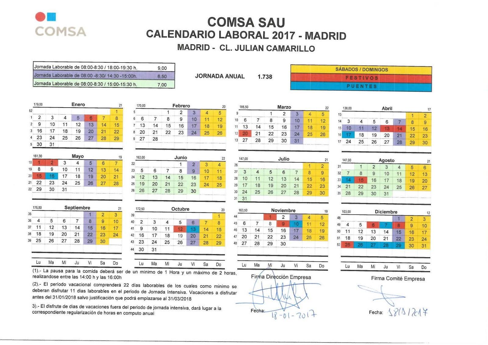 Comit empresa comsa madrid calendario laboral 2017 for Convenio oficinas madrid 2017