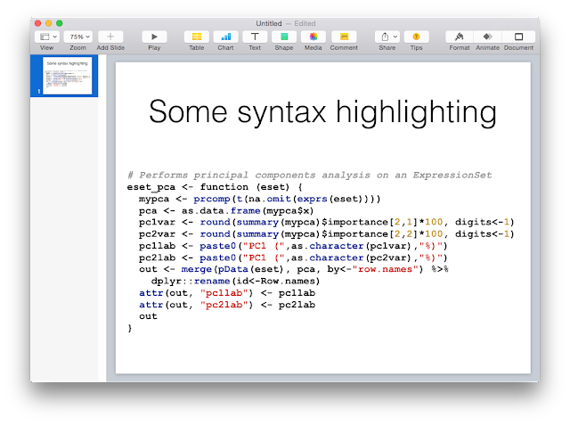 Syntax Highlight Code in Keynote or Powerpoint