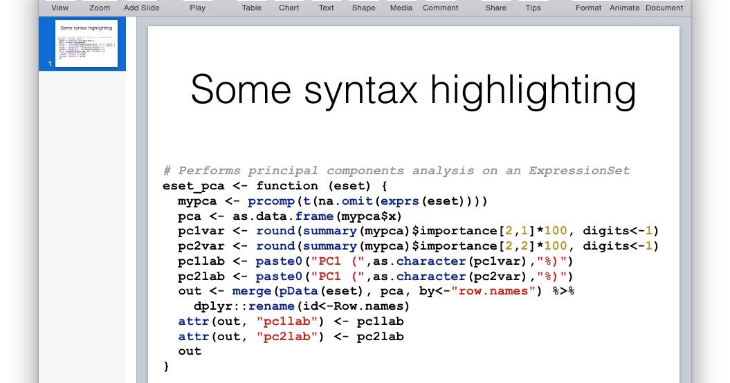 Getting Genetics Done: Syntax Highlight Code in Keynote or