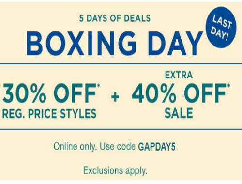 Gap Boxing Day 5 Days of Deals Day 5